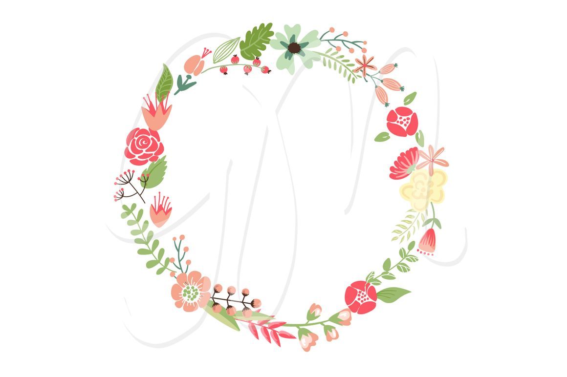 Wedding Floral Clipart Wreath Heart Wreath Clip Art Floral