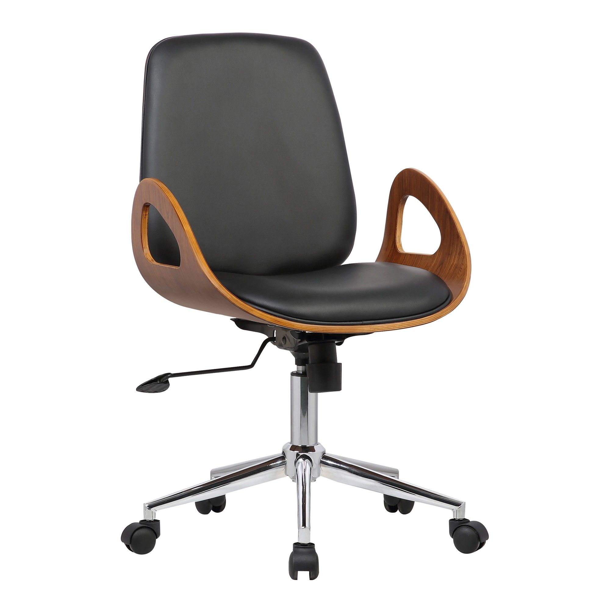7a6b4c9150 Wallace Mid-Century Office Chair in Chrome finish with Black Faux Leather  and Walnut (Brown) Veneer Back - Armen Living