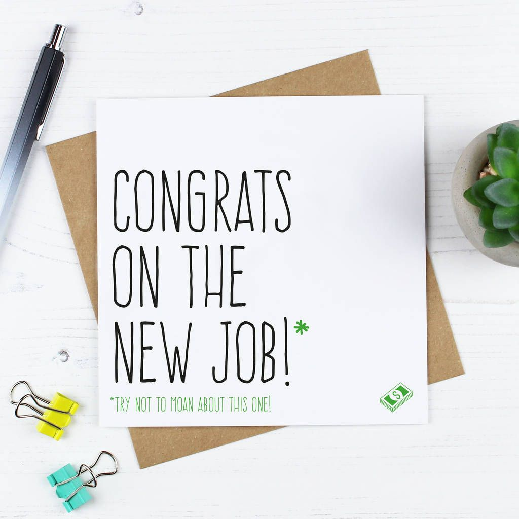 'Congrats On The New Job' Card in 2020 New job card