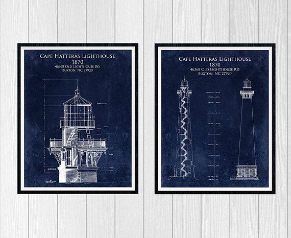 Cape hatteras lighthouse gift set nautical decor lighthouse art cape hatteras lighthouse gift set nautical decor lighthouse art blueprint art bathroom malvernweather Images