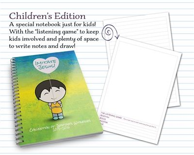 Kids' + Youth's notebooks for the 'Imitate Jesus' Convention Click here to buy now! http://MinistryIdeaz.com/Kids-Notebooks  Be confident that your children are getting the most out of the convention with a small spiral bound notebook made especially for them! 140 pages of quality paper make this durable kids' notebook the perfect resource for your son or daughter at the convention.  More information: http://MinistryIdeaz.com/Kids-Notebooks