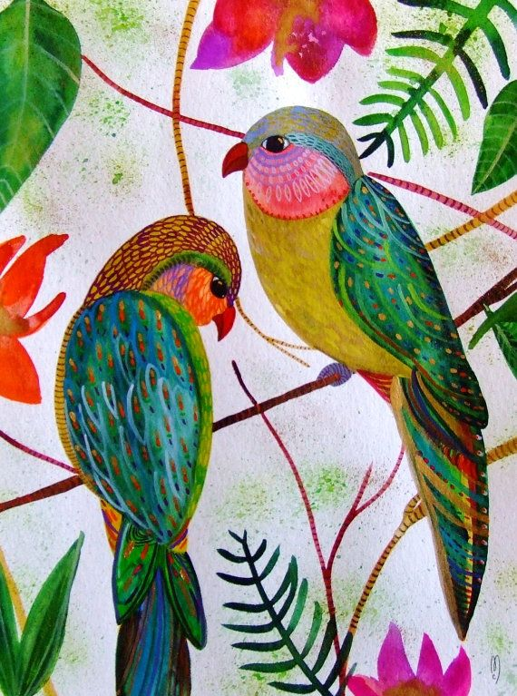 Birds Watercolor Gouache Ink Parrots Painting Couple Birds Parrots Decor Green Blue Gold Pink Birds Flowers Landscape Birds Modern Art Birds...Watercolor, gouache and ink on paper 90 % bamboo fibers 10 % cotton (125 lb)  Dimensions 9,4 * 12,6 inches 24 * 32 cm  $220
