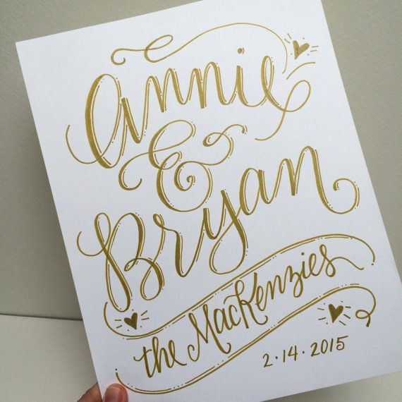 A unique gift to commemorate an engagement, wedding, anniversary, or even a new home. Couples name will be custom lettered in the style shown