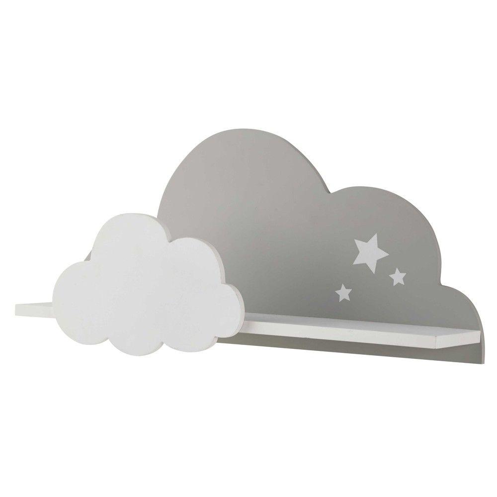 Wandregal Wolke weiß/grau 24x50 | Wandregal, Wolke und Babyzimmer deko