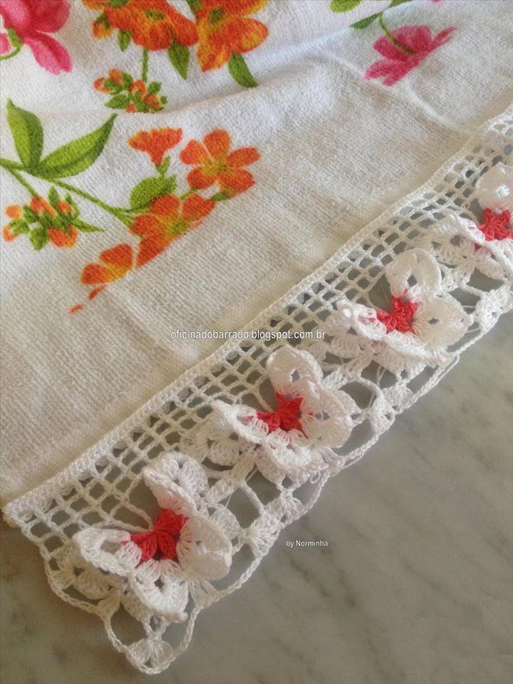 kelebek havlu kenarı | Ganchillo o Crochet (piezas lindisimas ...