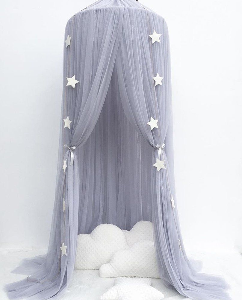 Baby Bedding Crib Netting Qualified Blue Upgraded Childrens Mosquito Net Star Dreamy Fantasy Star Hanging Lace Dome Round Canopy Mosquito Net Bedroom Bed Curtain