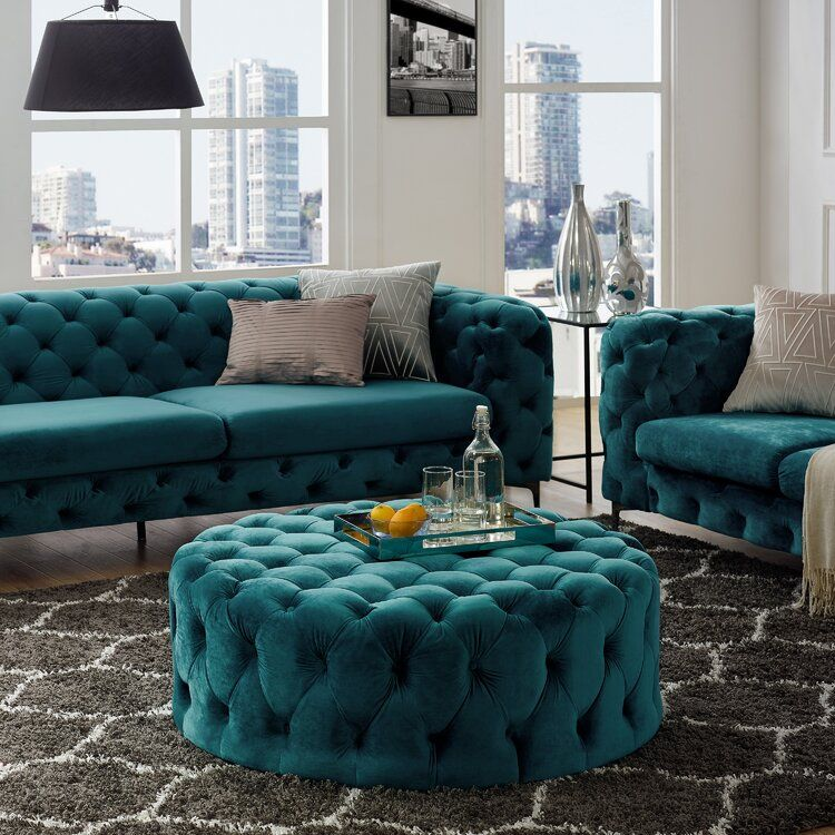 Koffler 42 Wide Velvet Tufted Round Cocktail Ottoman In 2020 Green Living Room Decor Living Room Sofa Design Living Room Designs