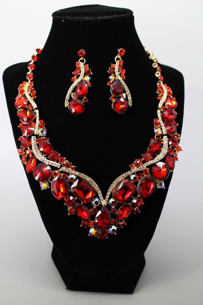Red Crystal Prom Statement Chunky Necklace & Earrings Set