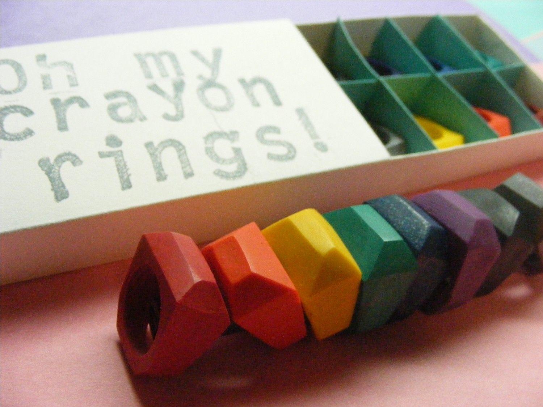 Crayon Rings Cute Idea Stainless Steel Crayon Rings Set Of 8 7200 Via Etsy