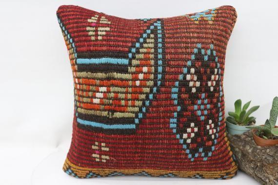 12x12 Turkey Kilim Pillow, Needlepoint Kits Pillow, Embroidered Pillow, Small Throw Pillow,Red Pillo