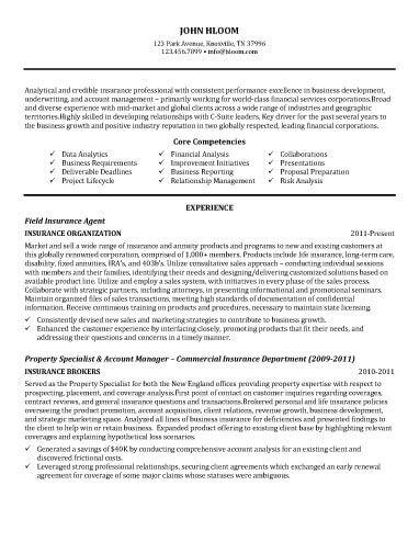 Insurance Agent Resume Sample resume Pinterest Customer - insurance sample resume