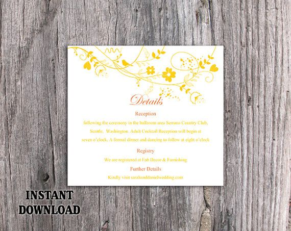 DIY Wedding Details Card Template Editable Word File Instant - information templates word