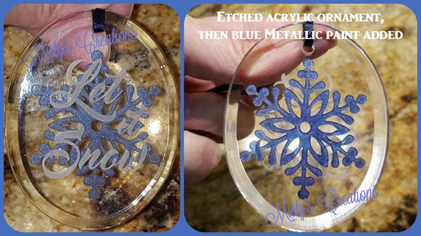 Etched Flat Acrylic Ornament With A Bit Of Metallic Blue Added Metallic Paint Ornaments Metallic Blue