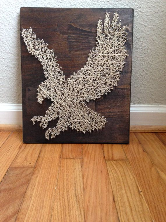 Handmade String Art On Wood Eagle By Modernheartdesignco On Etsy