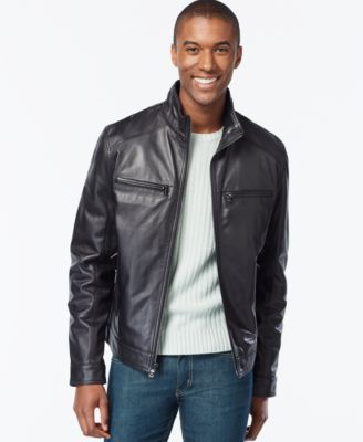 Michael Michael Kors Hipster Leather Jacket In Black Leather Jacket Michael Kors Men Mens Jackets Casual