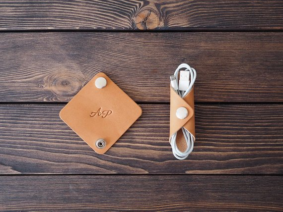 Personalized Leather Cord holder. iPhone cable organizer. Handmade. 2 pcs#cable #cord #handmade #holder #iphone #leather #organizer #pcs #personalized