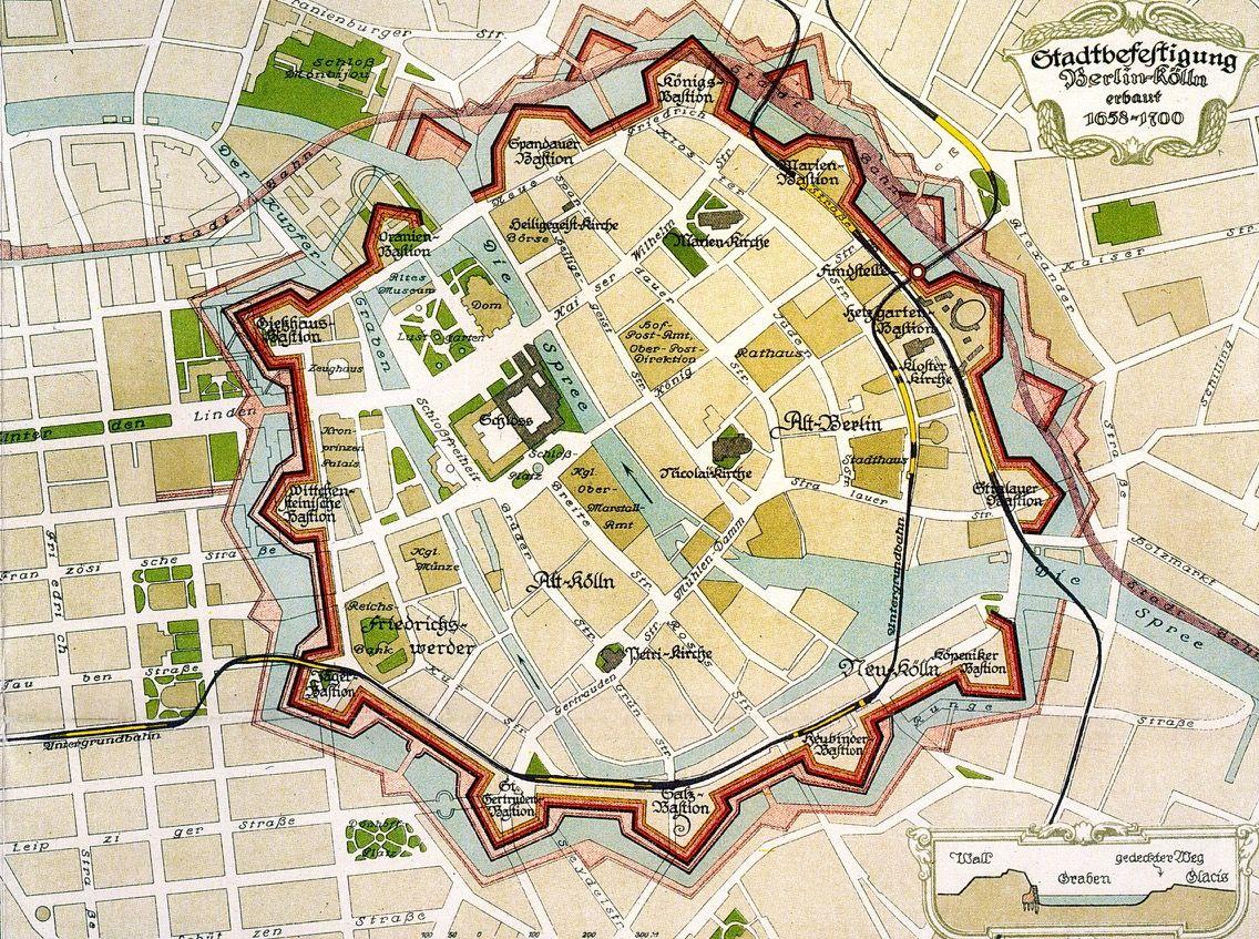 Bastionen Gesamt Berlin Karte Berlin Baugeschichte