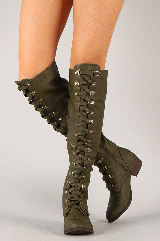 2013 Army Knee High Military Lace Up Boot #army #laceup #boots www ...