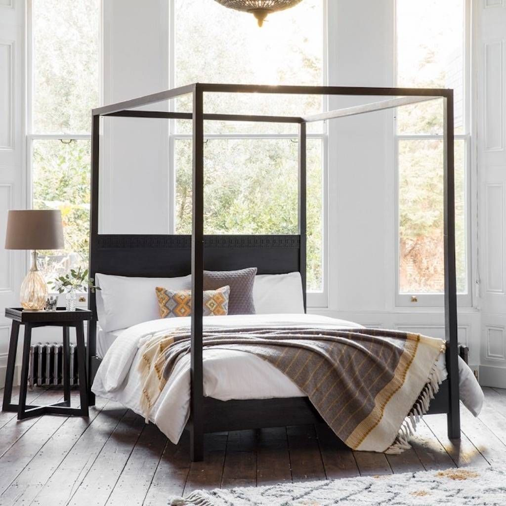 Black Boho Four Poster Bed Black Wood Bed Superking Bed