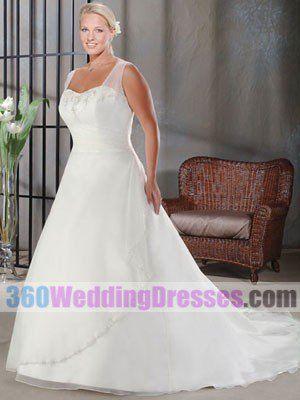 A-Line Sweetheart No Waist/Princess Seams Tank Chiffon Plus Size Wedding Dresses $229