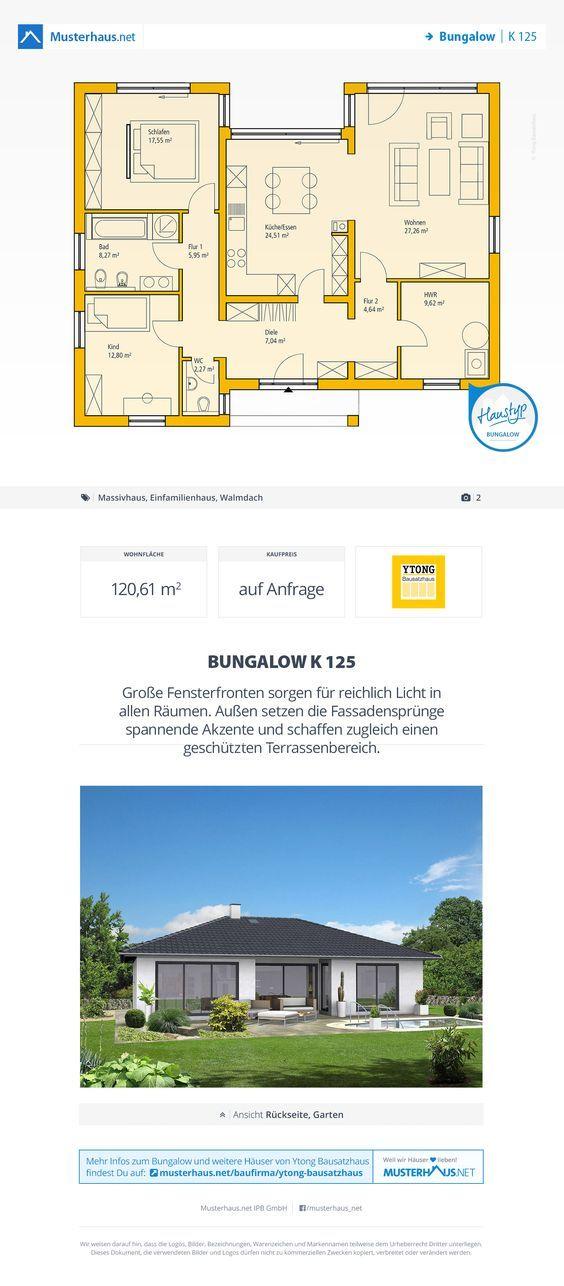 Bungalow Grundriss, 121 m², offene Küche Интерьер Pinterest - offene küchen beispiele