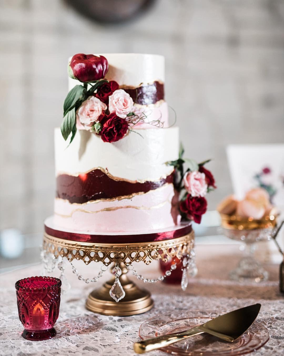 Romantic Burgundy Blush Wedding Cake On Our Original Chandeliercakestand By Thenoblecaker Blush Wedding Cakes Types Of Wedding Cakes Burgundy Wedding Cake