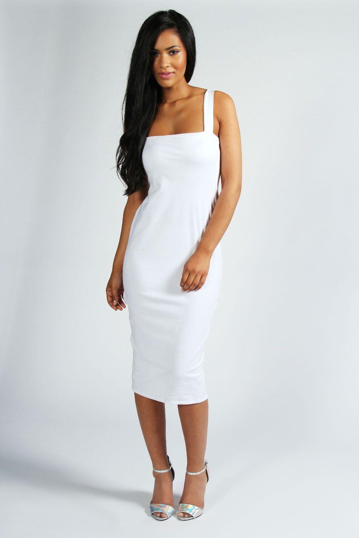 Jen Square Neck Bodycon Midi Dress White Midi Dress Midi Dress Bodycon Midi Dress [ 1500 x 1000 Pixel ]