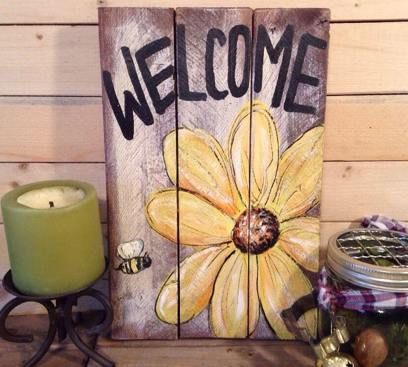 WELCOME SPRING Primitive Rustic Pallet PORCH Country Handmade DOOR ...