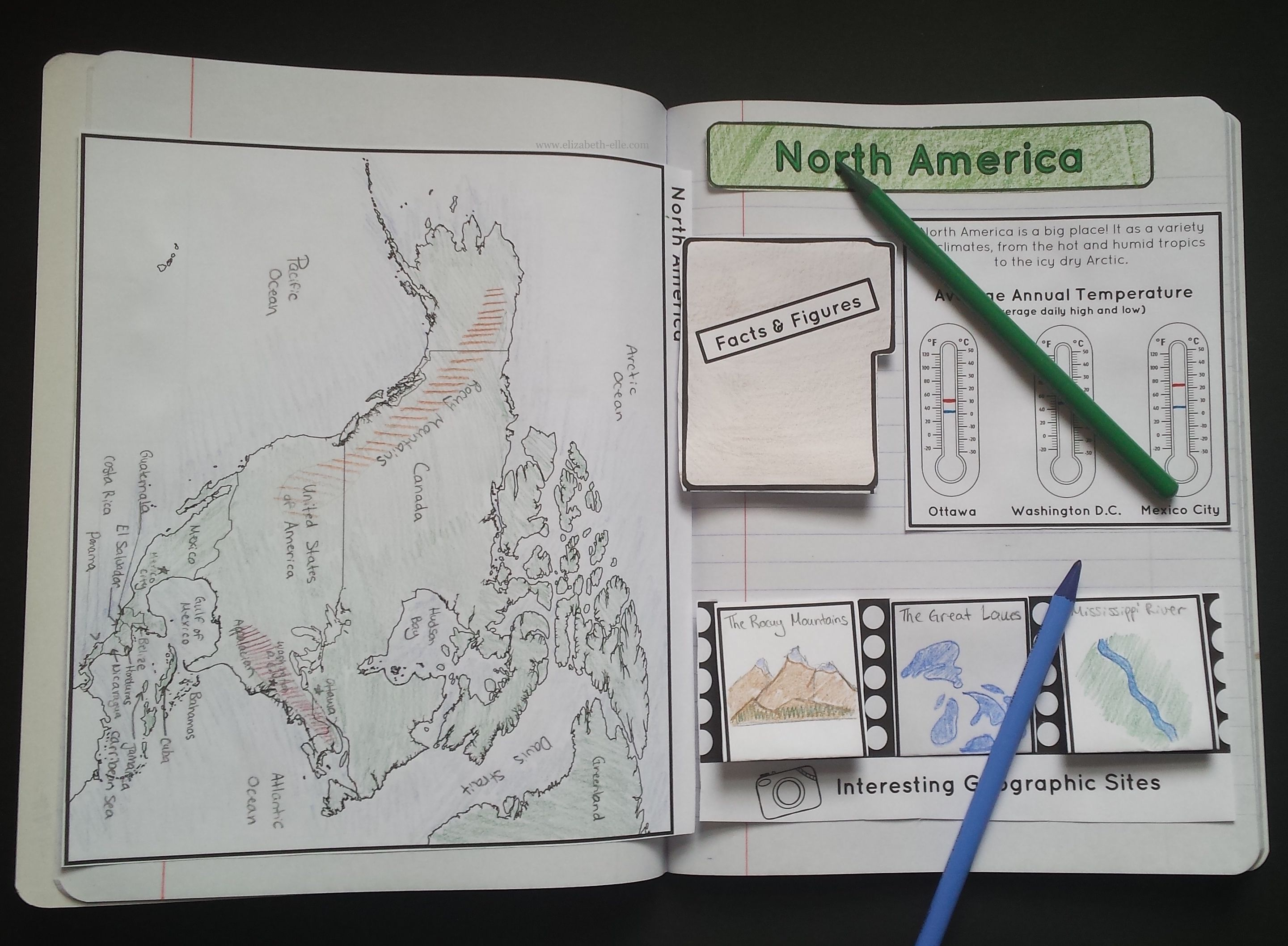Continents Interactive Notebook Exploring The Seven Continents - Map of north america activity