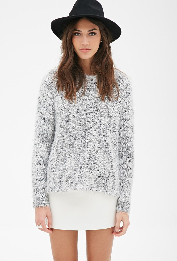 d646ce72893683 Marled Fuzzy Knit Sweater