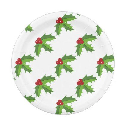 Red Berry Holly Paper Plate - red gifts color style cyo diy personalize unique