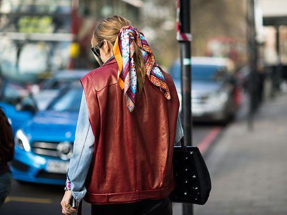 Cute scarf!  lfw street style fall 2013 runway