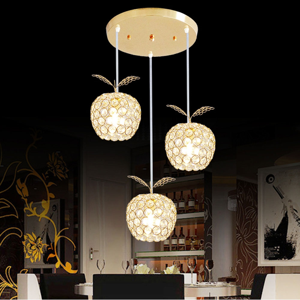 127.50$  Watch here - http://aliquf.worldwells.pw/go.php?t=32781775147 - 2017 New Fashion Creative Modern Minimalist Fruit 110v-220v Crystal Pendant Light E14 Home Lighting 3 Heads Led Pendant Lamp 127.50$
