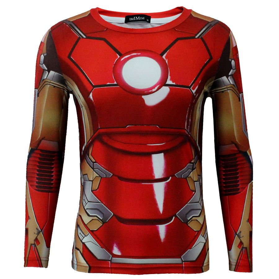 Cool Compression Fitted Shirt Iron Man Graphic Tee Short Sleeve
