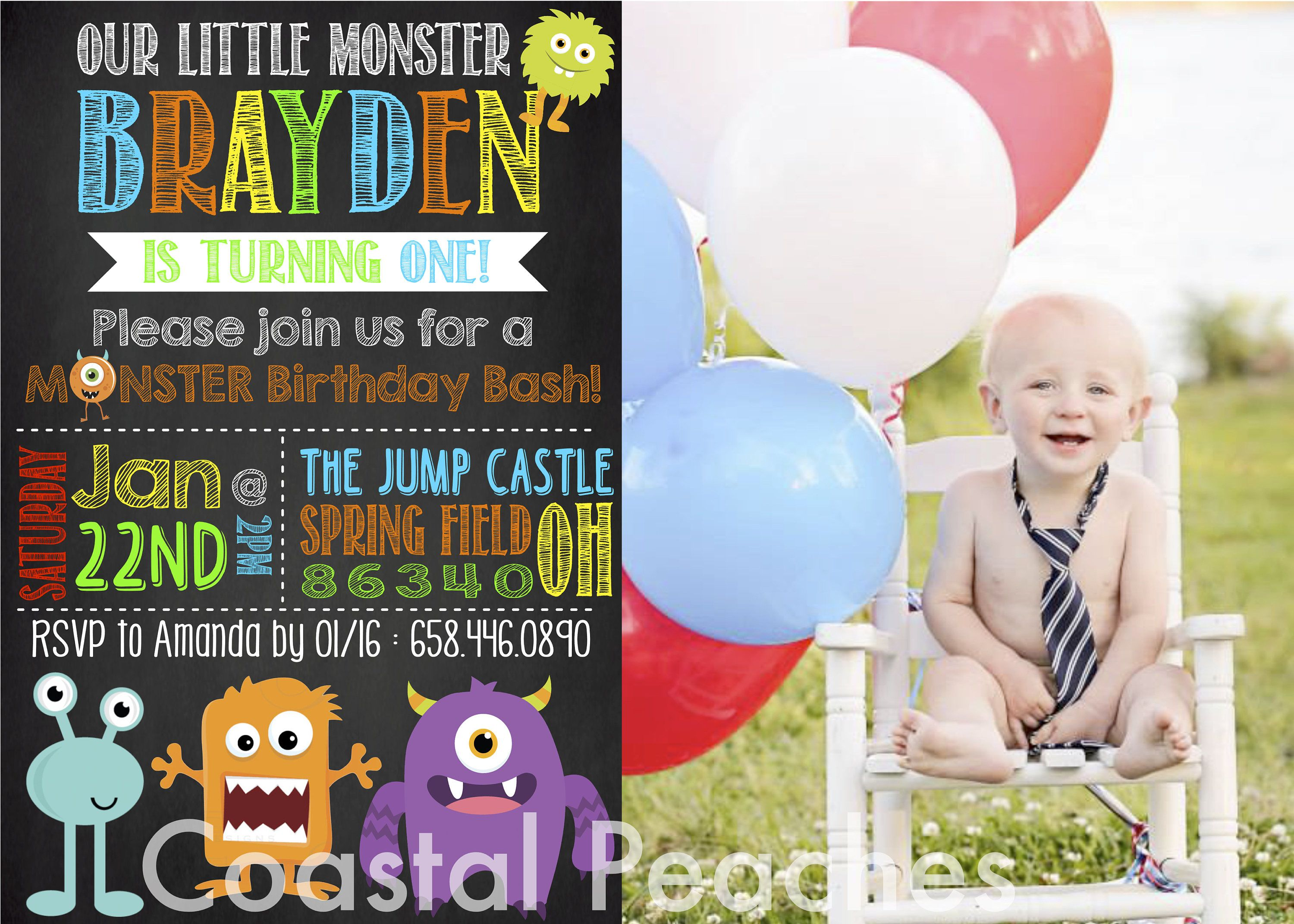 Monster Birthday Invitations Digital First Birthday Cute - Digital first birthday invitation