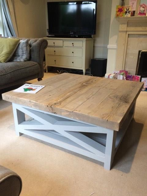 Rustic Coffee Table With Thick Reclaimed Wood Top And Lower Shelf Made To Measure In Any Size With Painted Chunky Cross Legs Coffee Table Farmhouse Coffee Table Chic Coffee Table