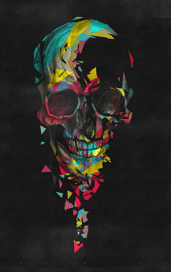 Colorful Black Geometric Skull Fragmentation Art Ideas Portion Of Image Omitted And Undefined Fractures Melds Into Design
