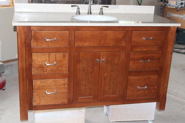 Image result for bathrooms with mission style vanity Bathroom in