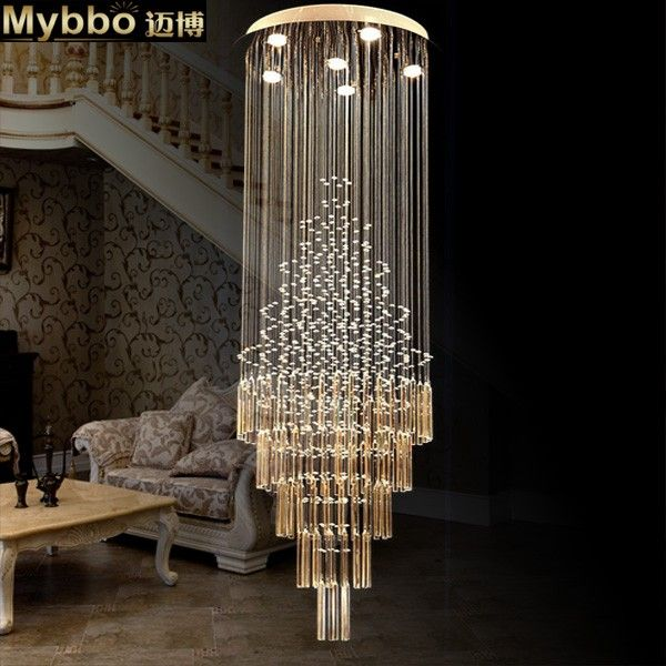 Maibo Modern Fashion Double Staircase Long Crystal Chandelier