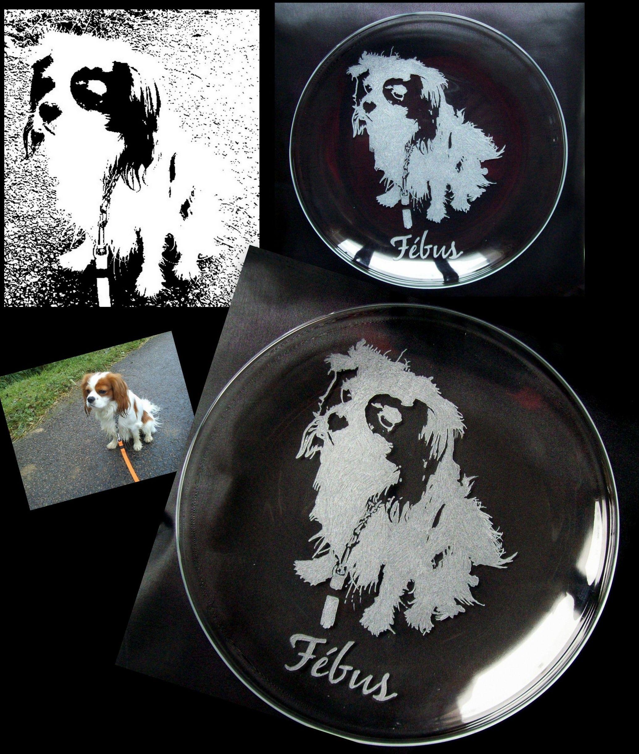 Gravures Sur Verre à gravure sur verre assiette gravée à partir d'une photo de chien