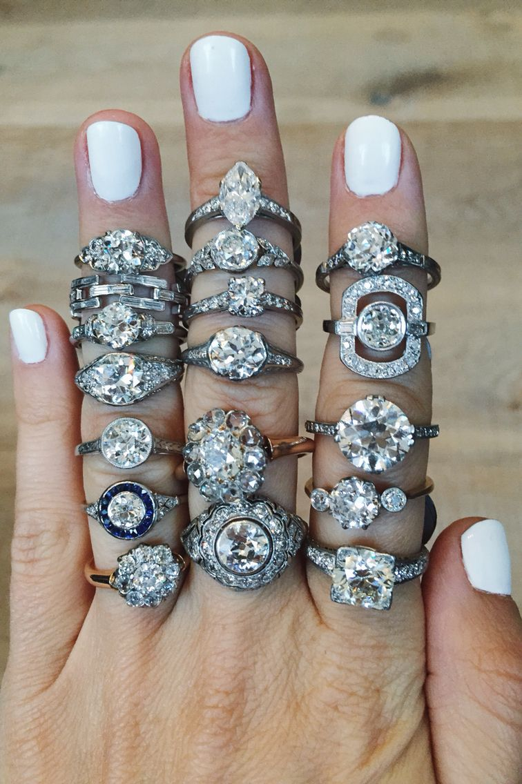 Vintage engagement rings featuring Victorian, Edwardian