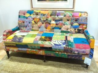 As seen in Traditional Home Magazine - patchwork brights from Lee Industries. #hpmkt