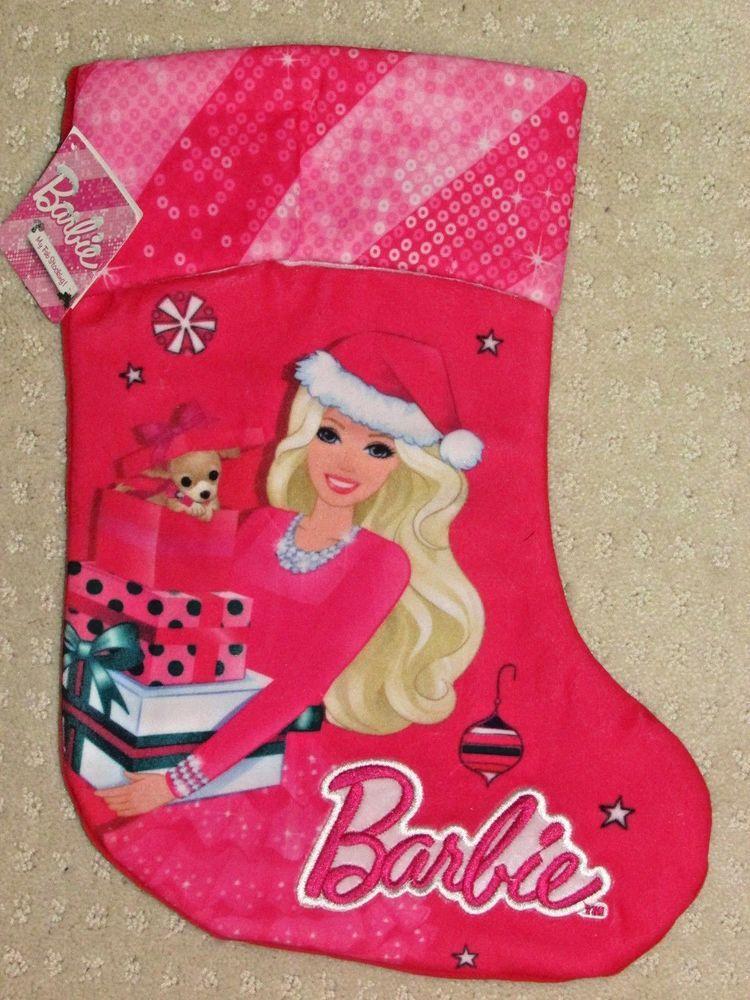 nwt barbie christmas stocking hobby lobby pink plush 14 new - Hobby Lobby Christmas Stockings