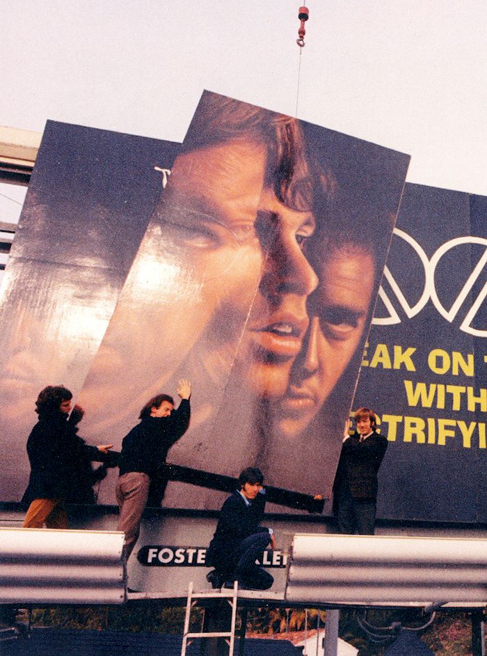 The Doors help set up their billboard at Sunset Blvd. to plug their first LP in 1967.  It was the first billboard on the Sunset Strip to advertise a rock band
