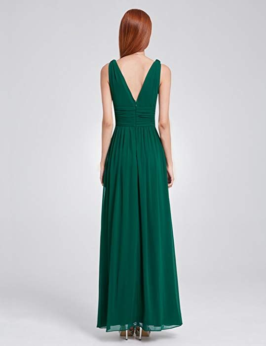Ever-Pretty Vestito da Sera Elegante in Chiffon Sexy con Scollo a V Doppio  Verde c8f76c30df6