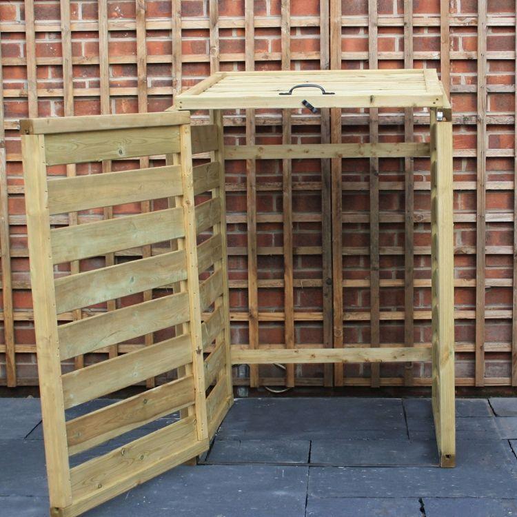 mülltonnenbox selber bauen simpel-idee-rahmen-gerüst-diy   Einfahrt ...