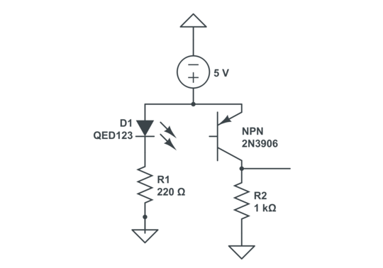 Phototransistor circuit is a light-controlled variable resistor ...
