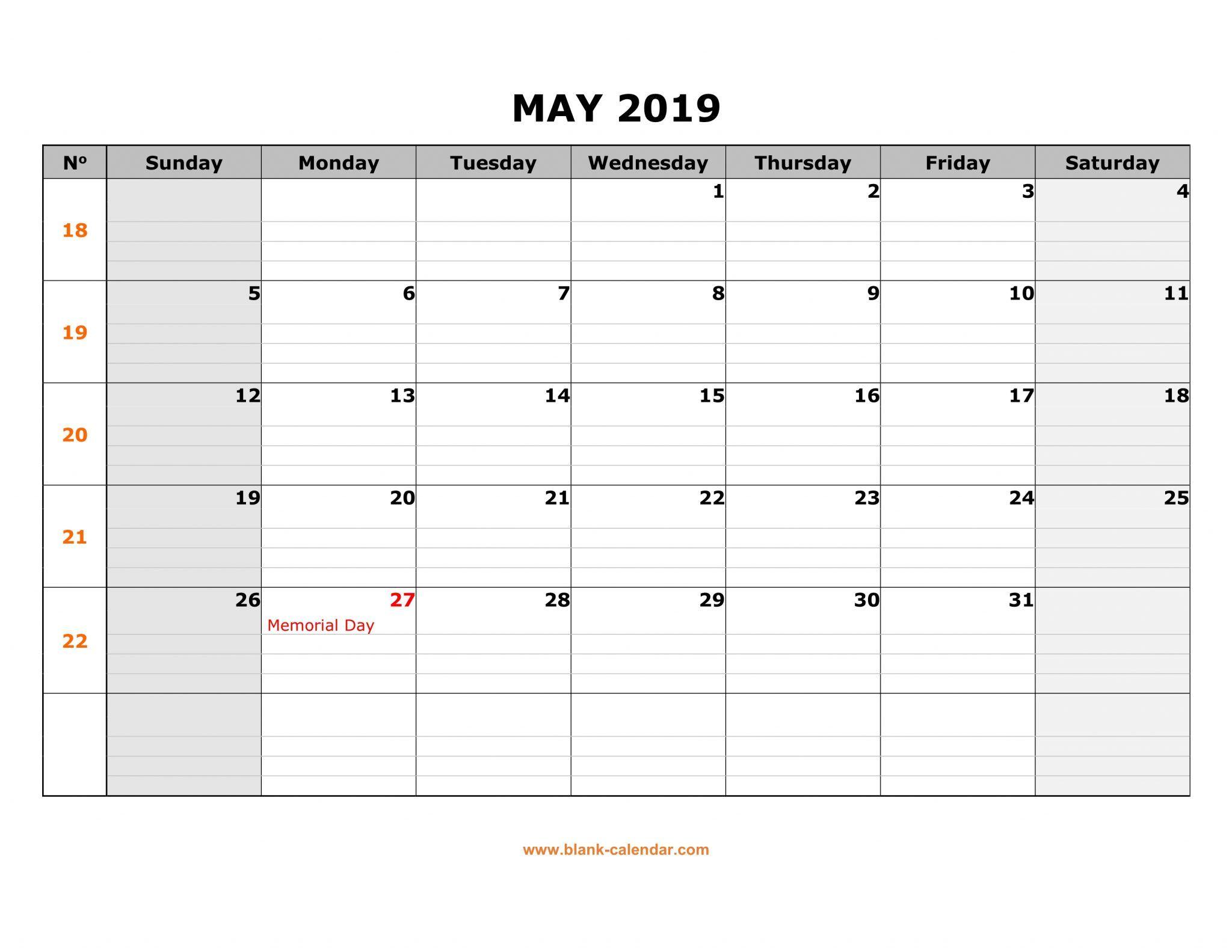 Calendar Of May 2019 May 2019 Calendar Printable Template