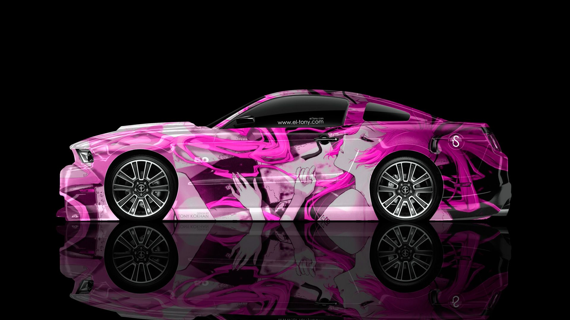 Ford mustang gt muscle side anime girl aerography car 2014