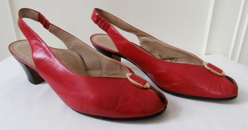 19e3b9ed2d611 Vintage 1980s Kurt Geiger Cherry Red Leather Slingback Shoes Sz 5-5 ...
